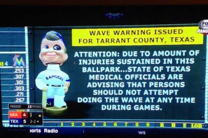 Fans Warned About Doing Wave At Ranger Game